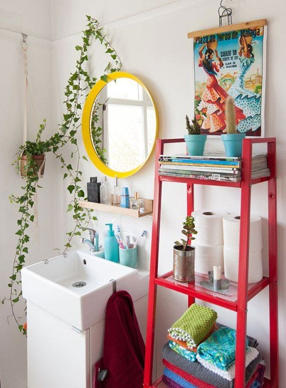 colorful bohemian bathroom decor