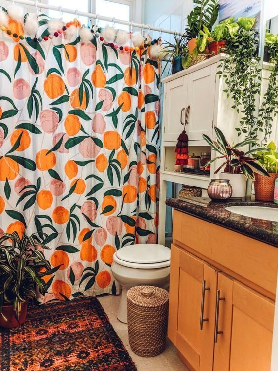 bright bold small bathroom