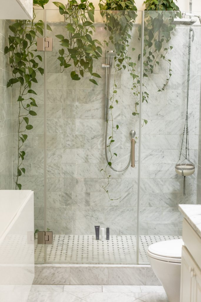 small bathroom decor with plants