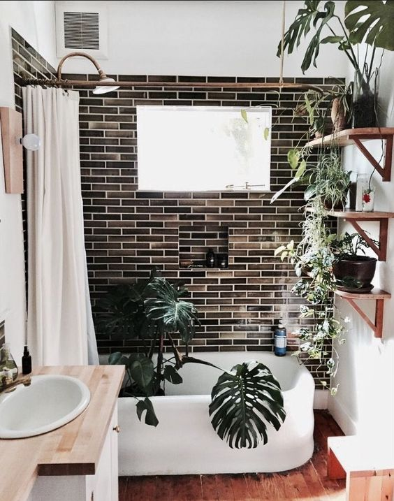 white and brown small bathroom with plants