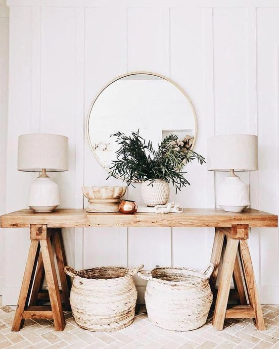white and wood natural entryway decor