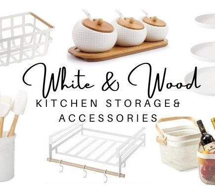 white and wood kitchen storage and accessories