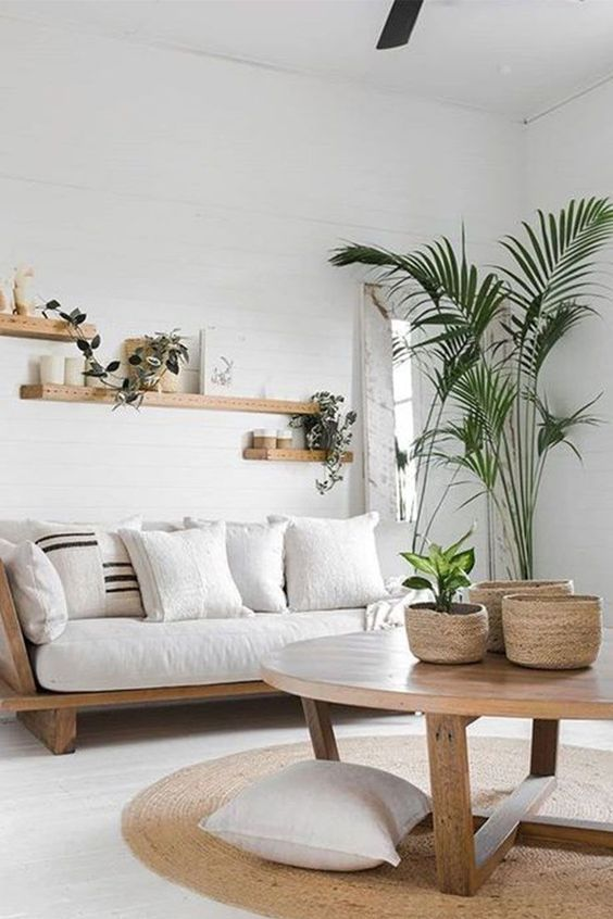 natural white and wood living room decor