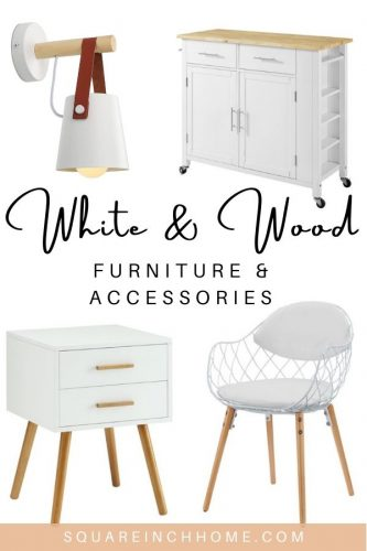 white and wood furniture and decor accessories