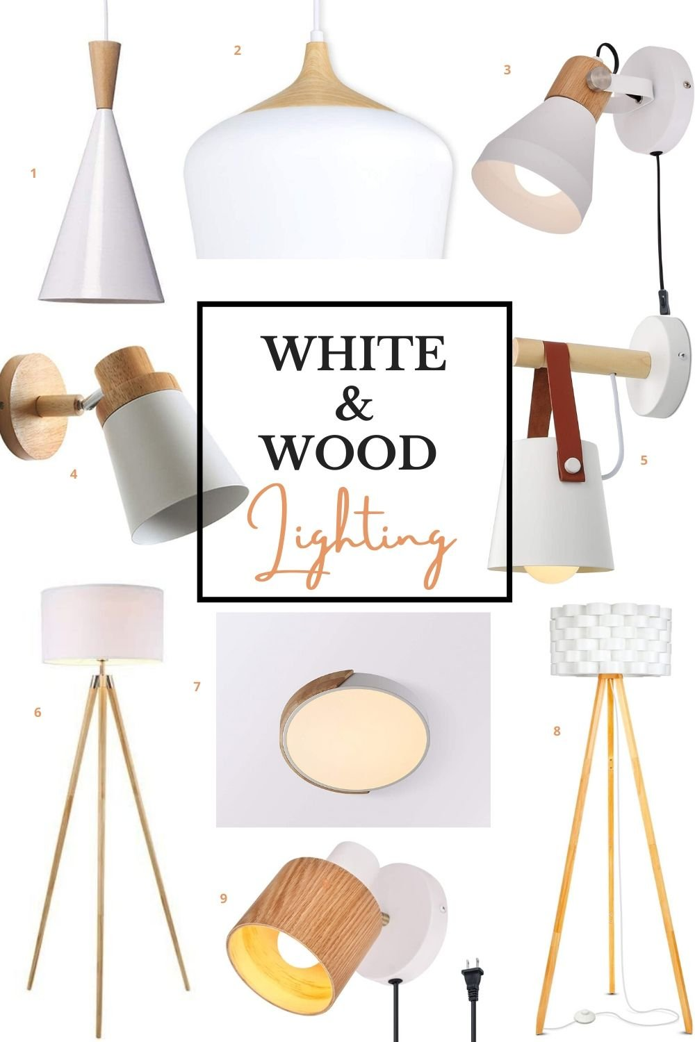 white and wood scandinavian lighting fixtures