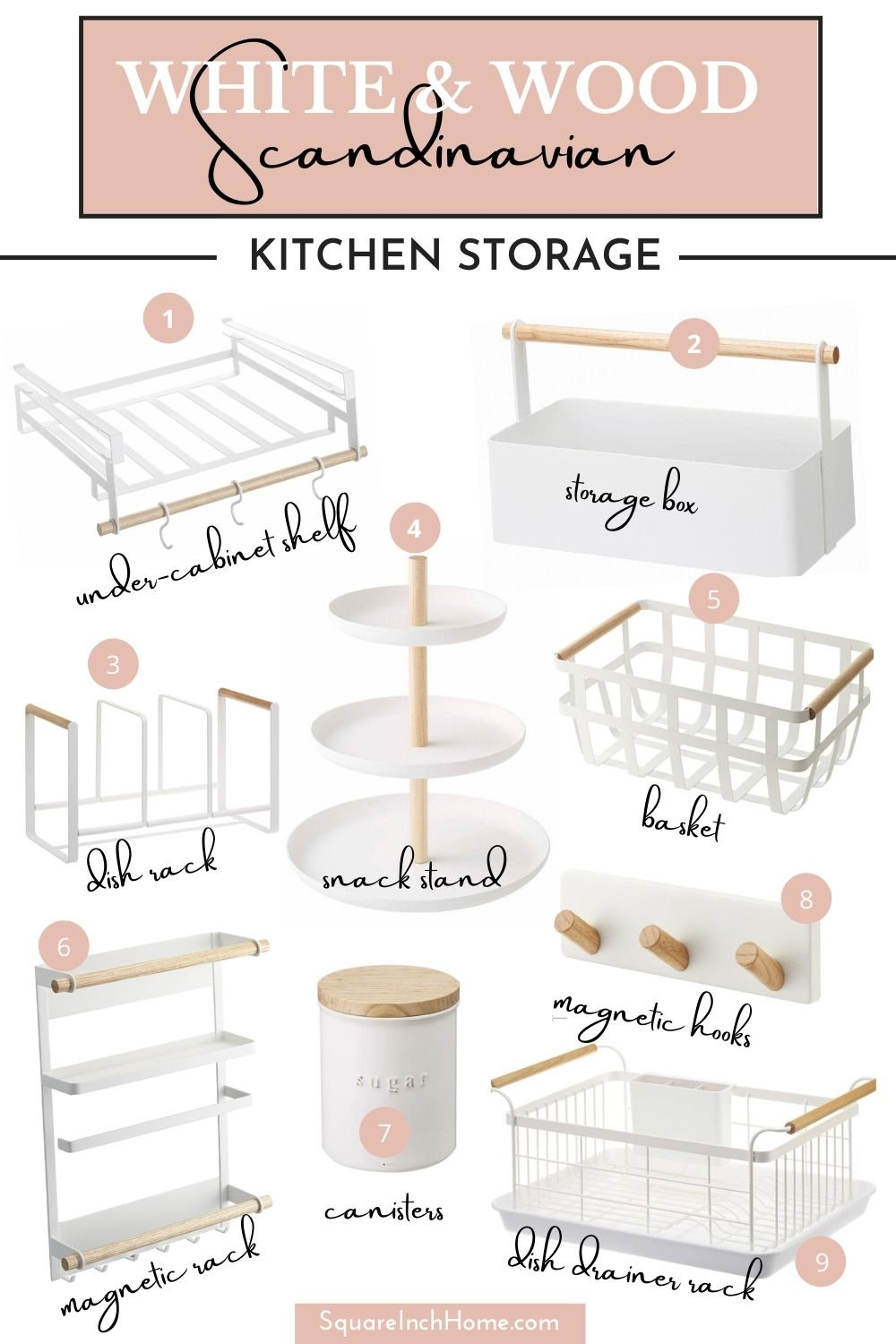 white and wood scandinavian kitchen storage