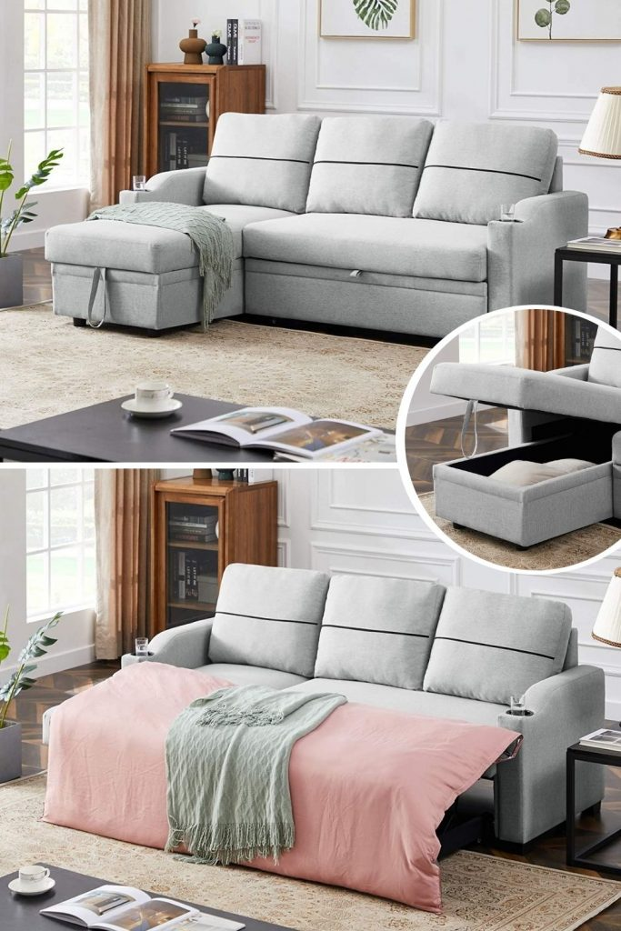 gray sleeper sectional sofa for small living room