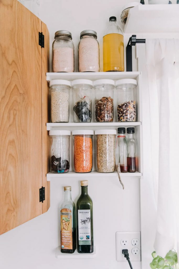 small pantry shelf for awkward corner