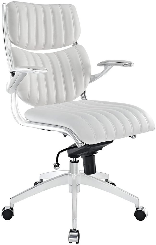 White & acrylic Faux Leather Ergonomic Office Chair