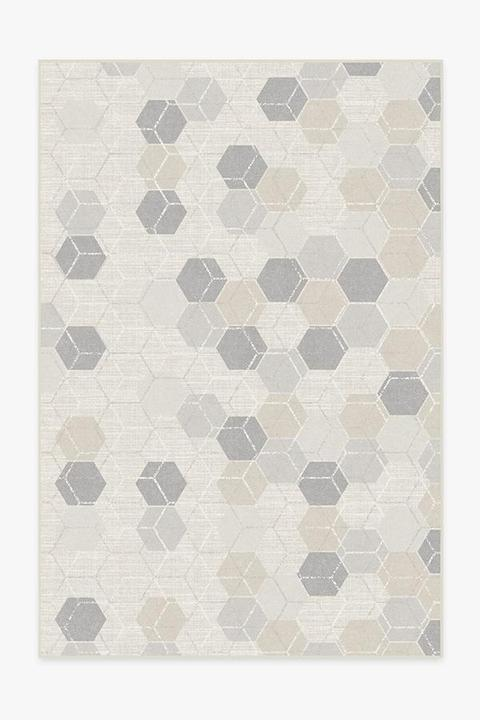 neutral hexagon machine washable rug