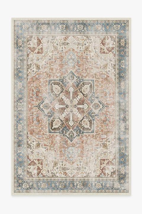 coral persian style rug machne washable rug
