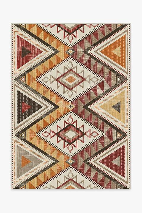 multicolored geometric boho rug