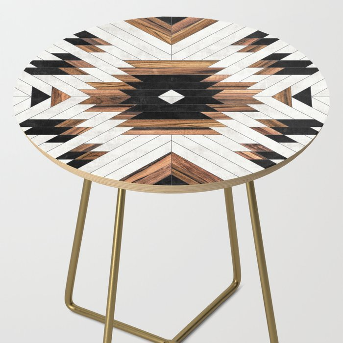 small round tribal print bedside table