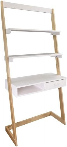 white and wood ladder desk for small spaces