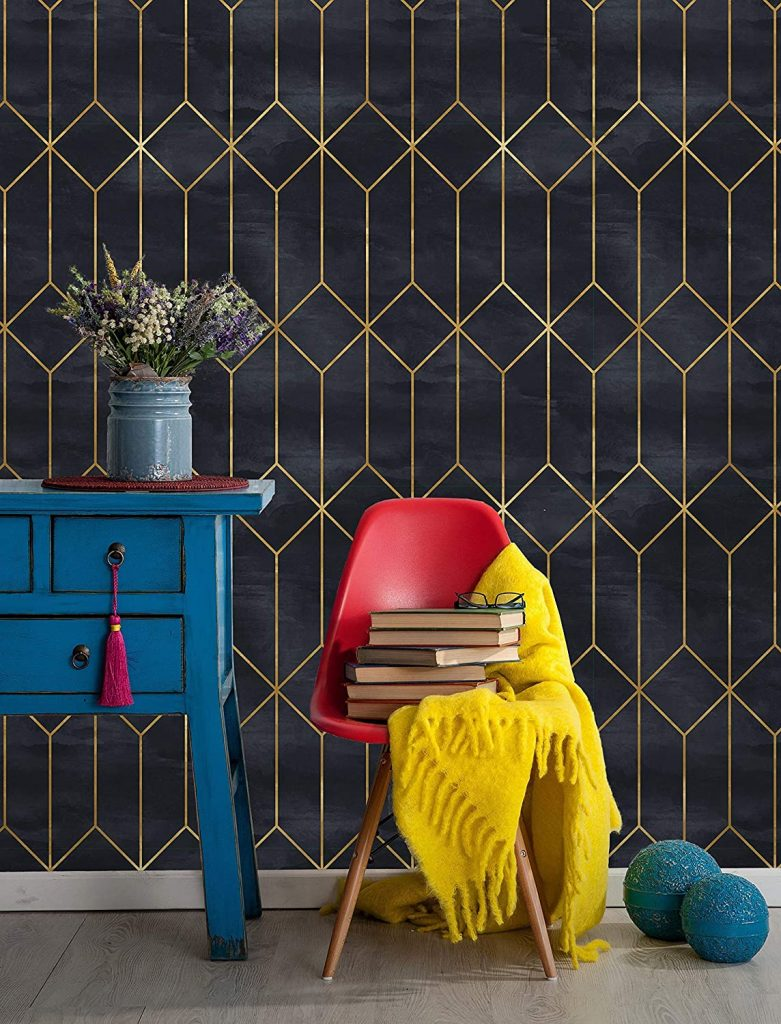 dark blue and gold gemetric removable wallpaper