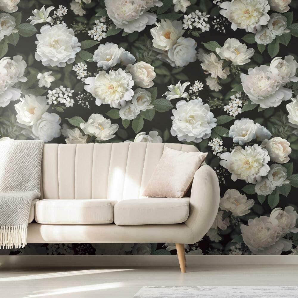 large dark floral removable wallpaper
