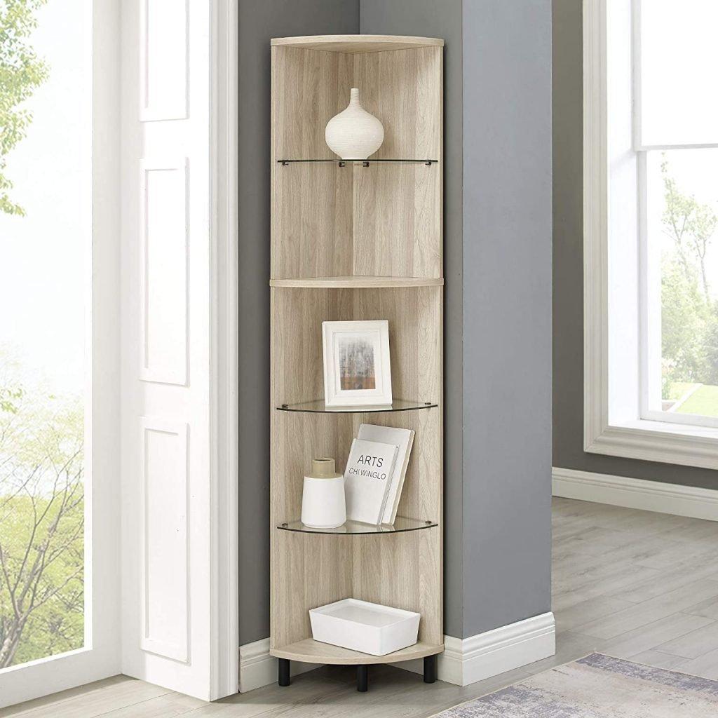 wood and glass corner shelf for small living room