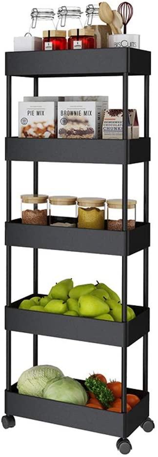space saving 5 tier rolling kitchen storage cart