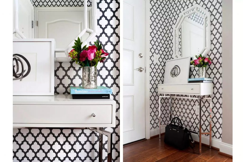 black and white small apartment entryway