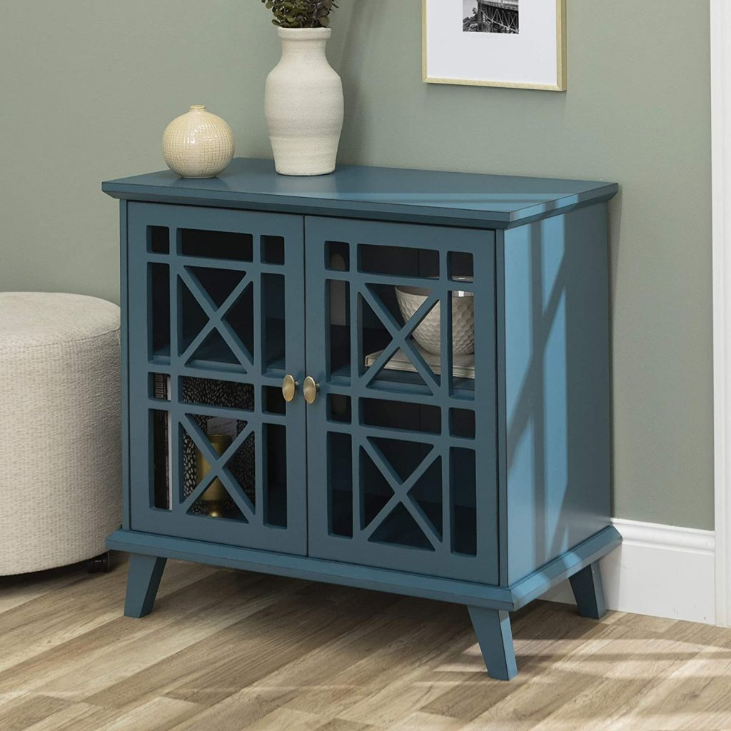 dark blue entryways storage cabinet with glass doors