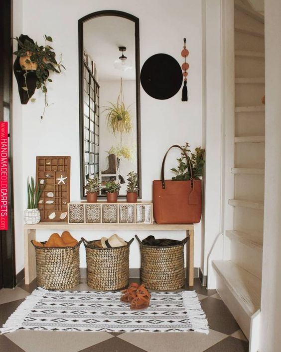 small apartment entryway decor with plants