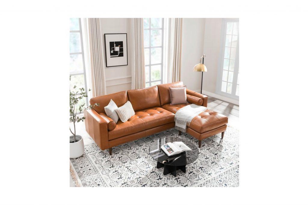Tan Apartment Sized Leather Sofa