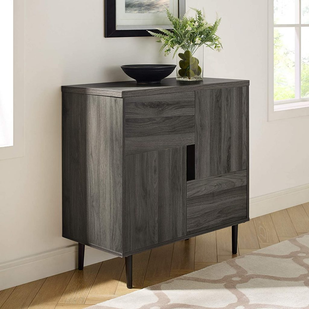 small gray modern entryway storage cabinet