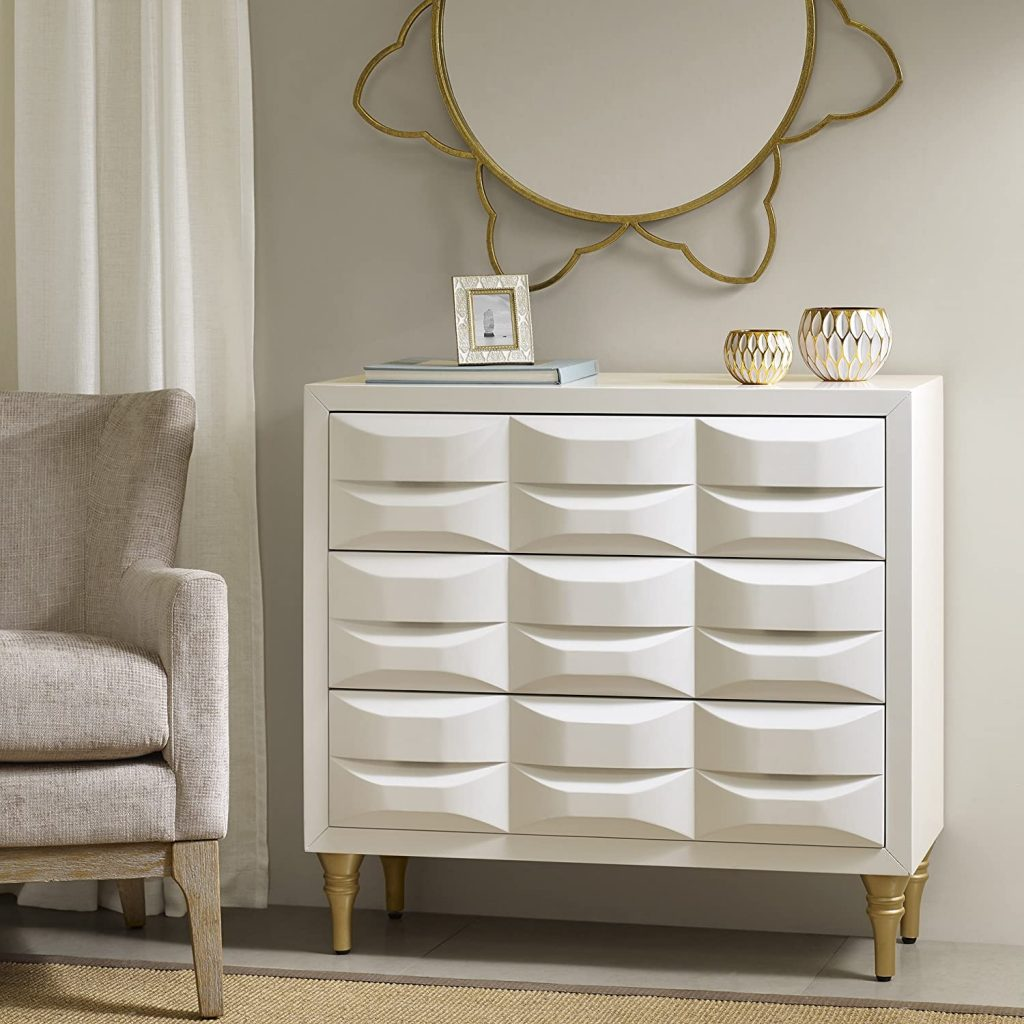 feminine white and gold storage entryway cabinet