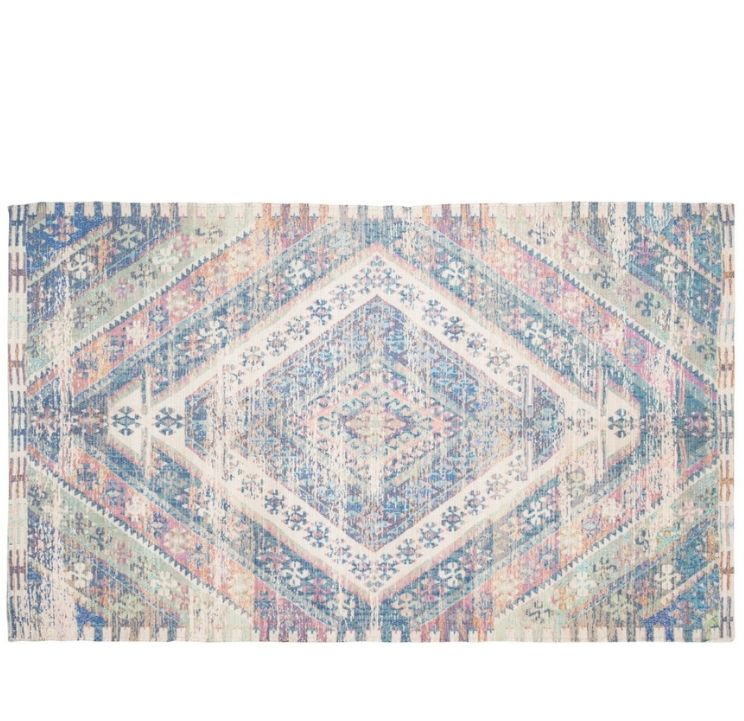 blue, pink and biege multi colored rug