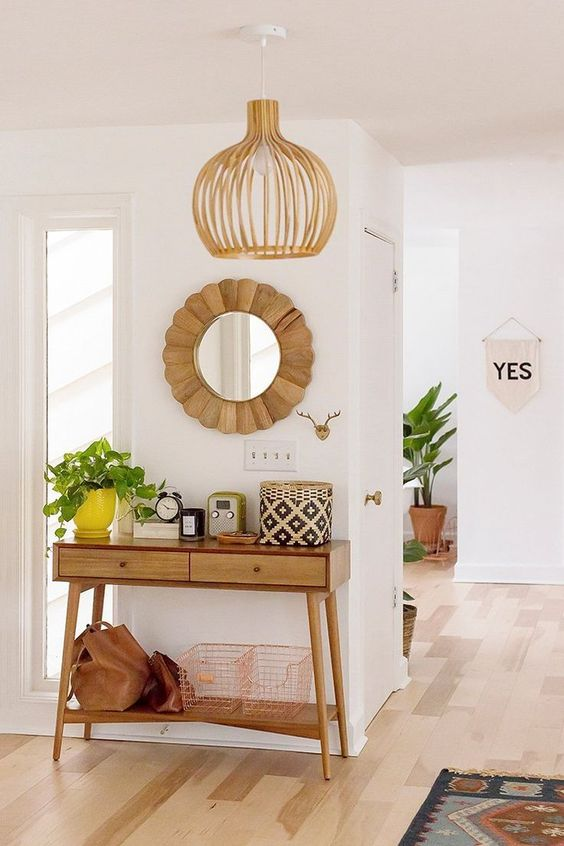 boho small apartment entryway