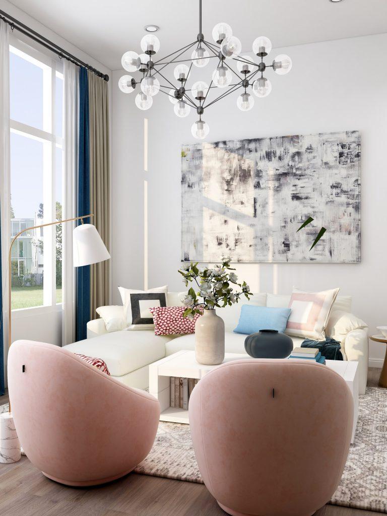 feminine, chic living room decor