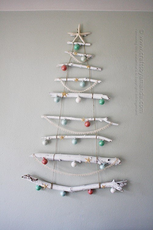 drift wood alternative christmas tree for small spaces
