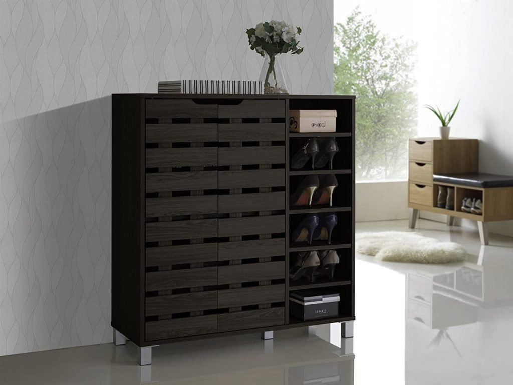 black small entryway shoe storage cabinet