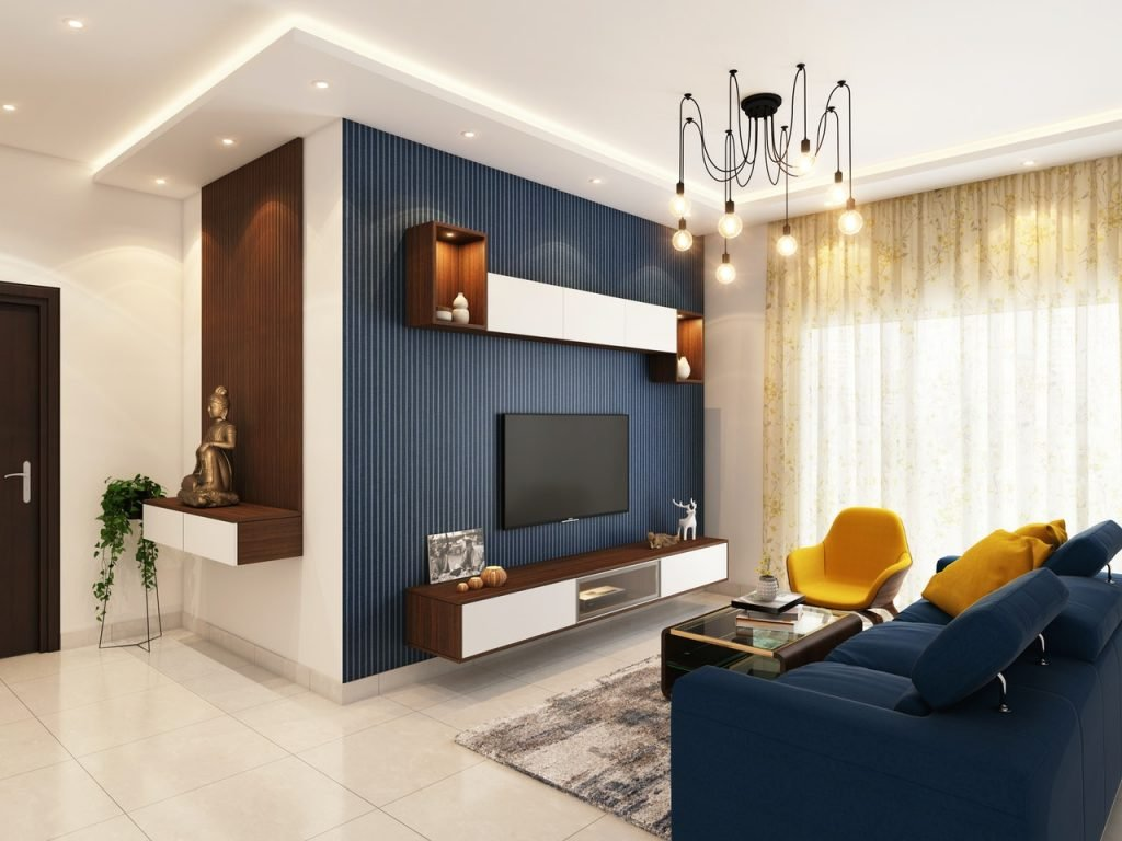 blue and gold small living room decor