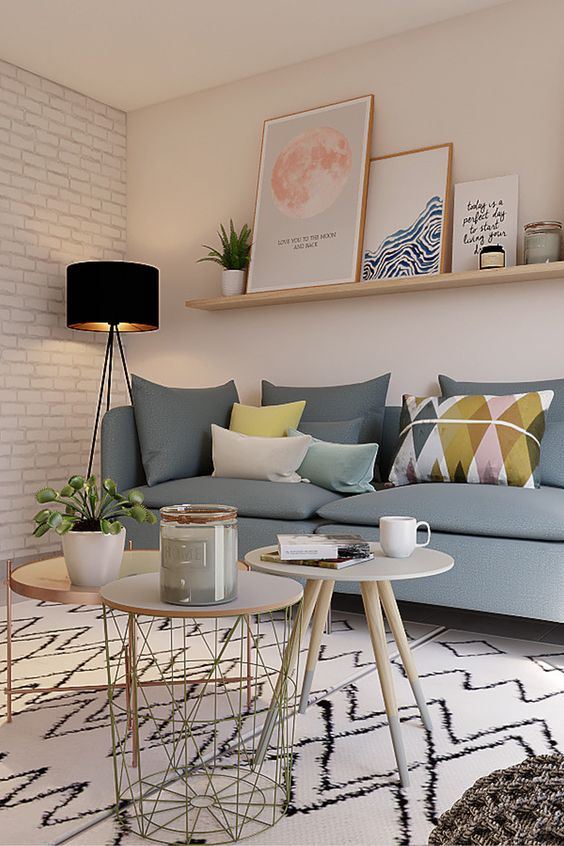 small mid-century modern living room decor