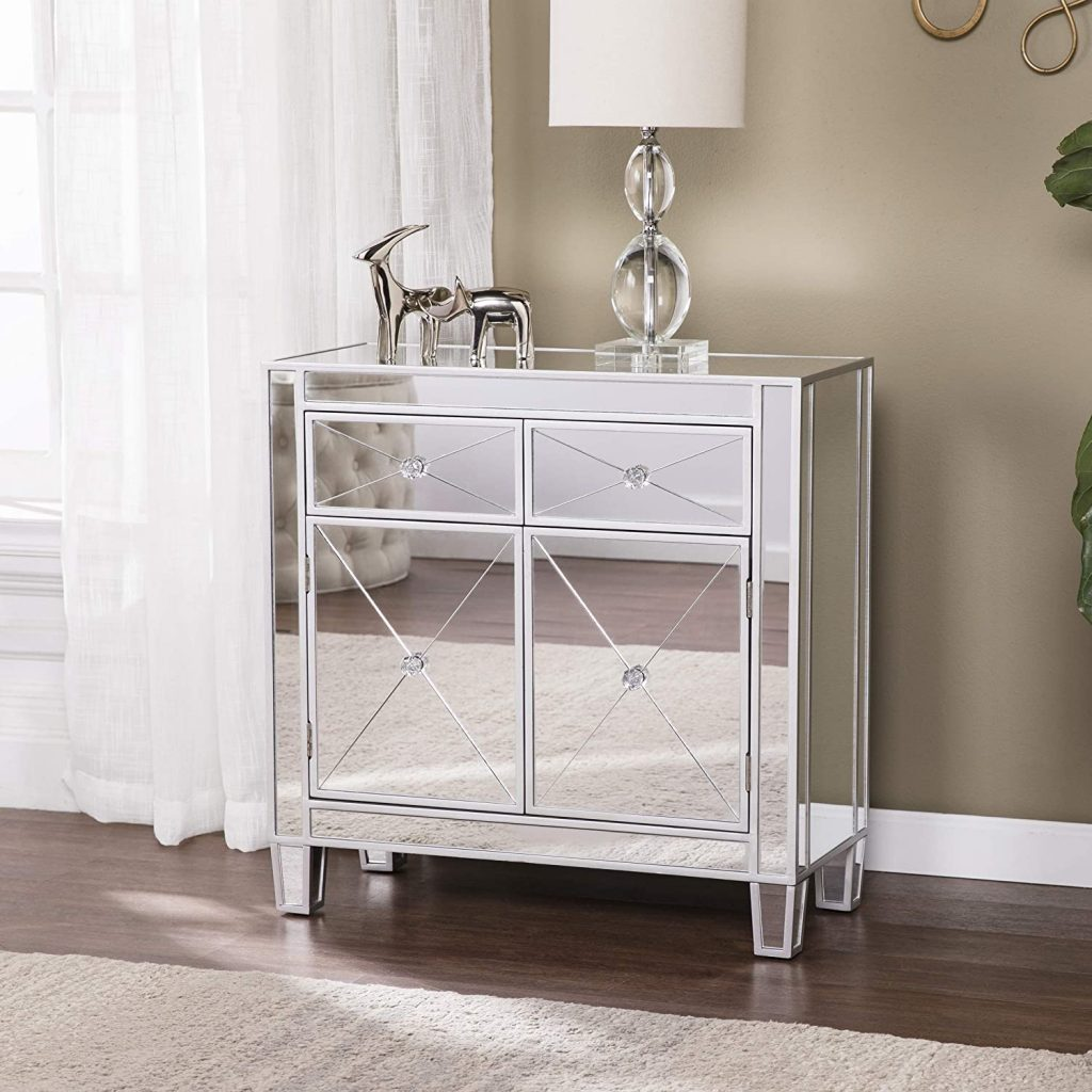 small mirrored storage cabinet