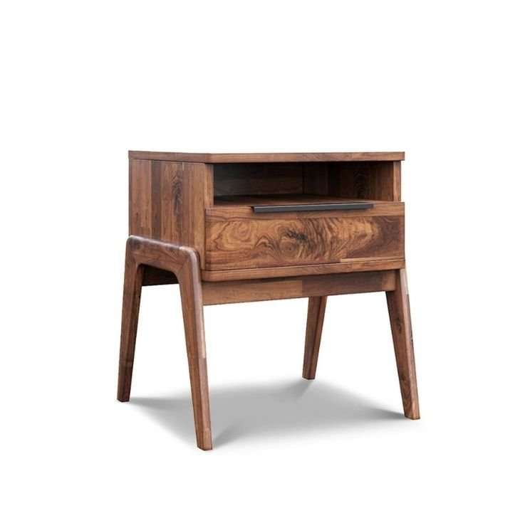 small rustic wood nightstand