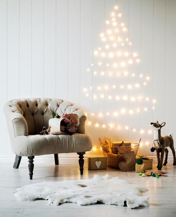 string lights christmas tree for small spaces