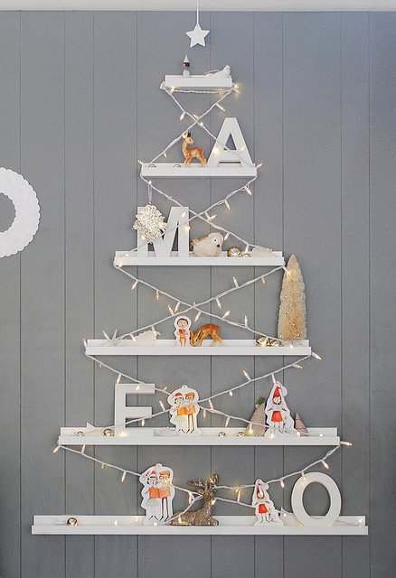 floating shelf alternative christmas tree for small spaces