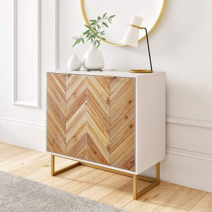 scandinavian white and wood entryway storage cabinet