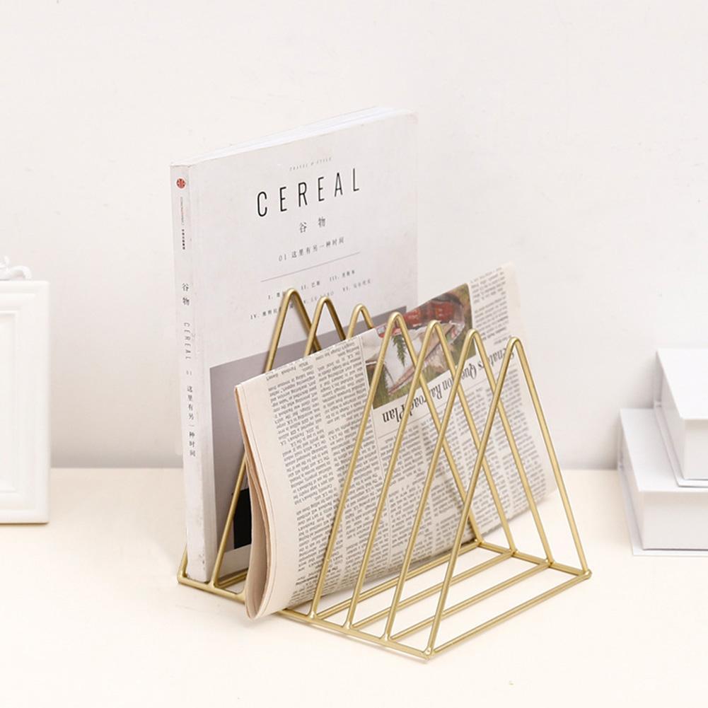 Gold triangle office desk file organizer