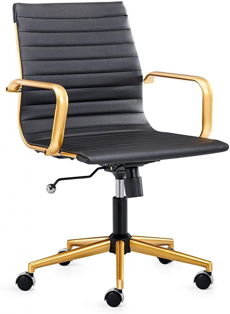 black and gold leather office chair