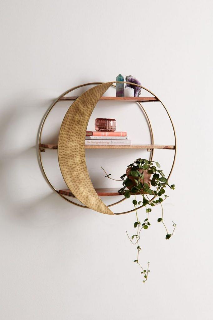 circle moon wall shelf