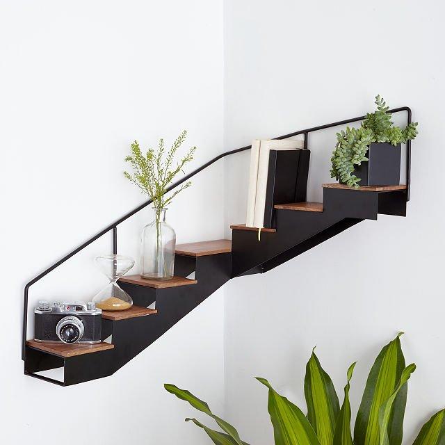 staircase corner wall shelf