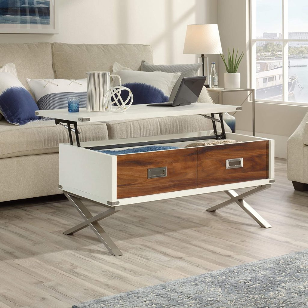 white and wood lift top coffee table