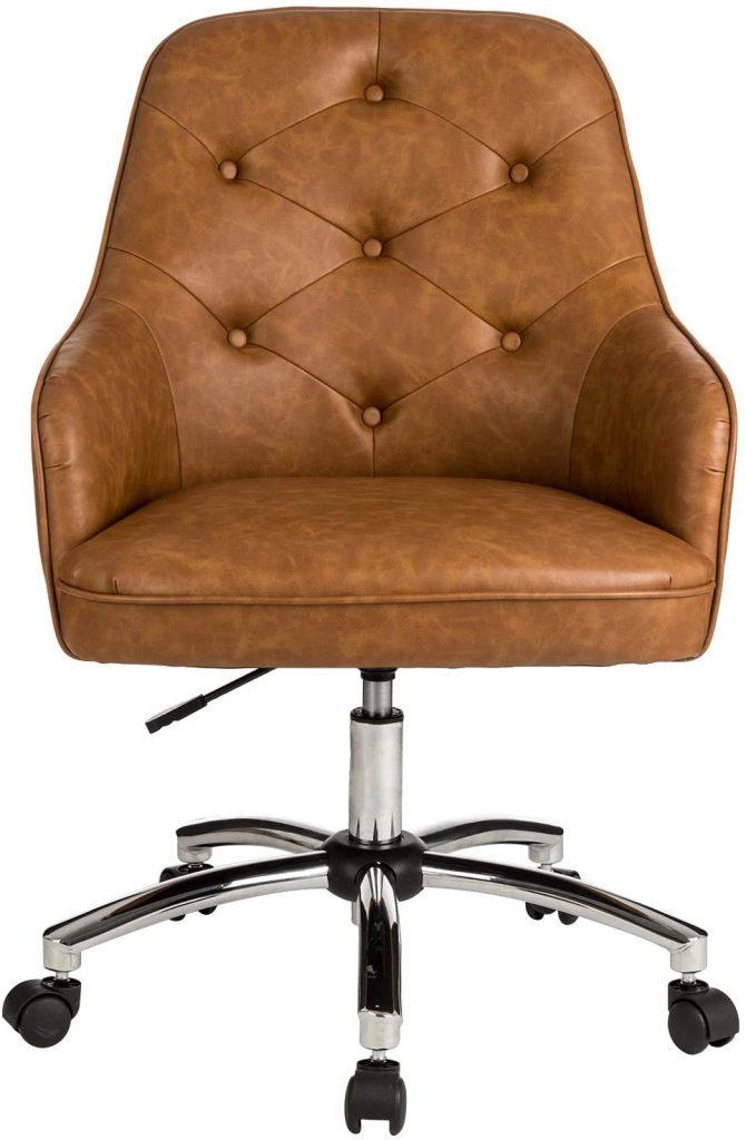 Brown Leather Ergonomic Desk Chair