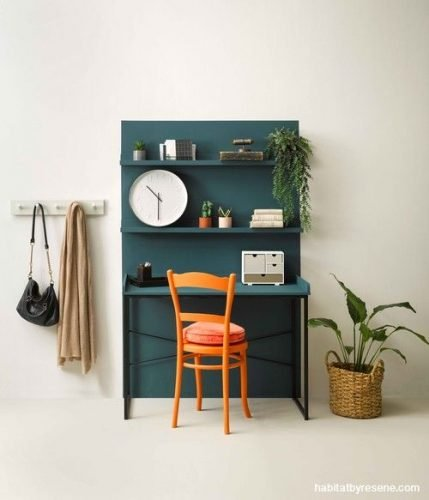 color blocking office space in small apartment