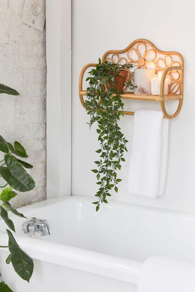 decorative rattan bathroom  wall shelf