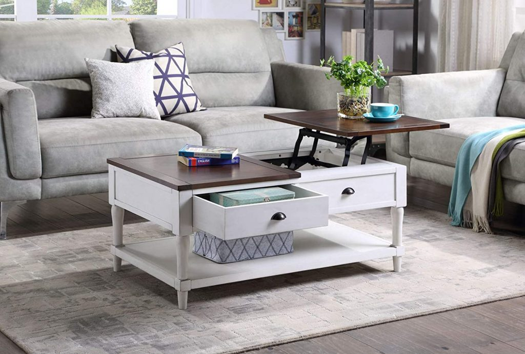 farmhouse style lift top coffee table with drawers and shelf
