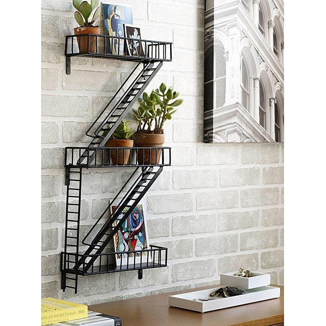 decorative fire escape wall shelf